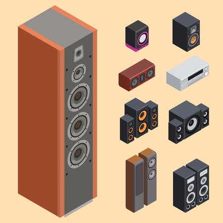 홈 아이소 메트릭 사운드 시스템 스테레오 어쿠스틱 3d 벡터 음악 스피커 플레이어 서브 우퍼 장비 기술입니다. 일러스트