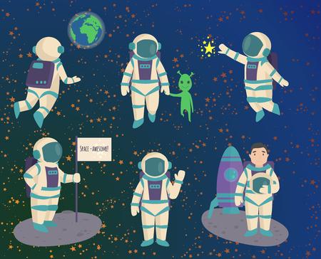 ベクトル文字の作業と楽しい空間で宇宙飛行士宇宙飛行士銀河雰囲気システム ファンタジー旅行者男。  イラスト・ベクター素材