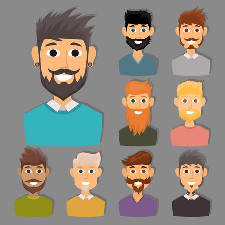 Personnage de divers expressions homme barbu expressions de l & # 39 ; expression et de la mode hipster coiffure coiffure avec moustache vecteur moustache illustration Banque d'images - 88252521