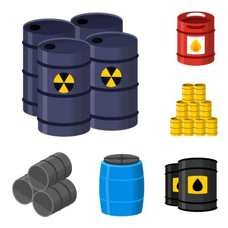 Tambours de pétrole conteneur carburant tonneau de stockage rangées en acier tonneaux capacité réservoirs en métal naturel vieux entrailles vaisseau chimique vector illustration Banque d'images - 88252544