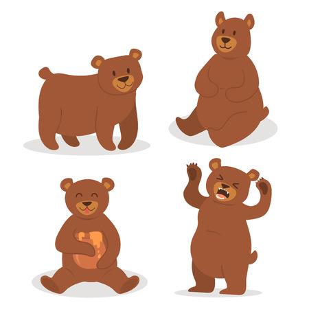 Karikaturbärncharakter-Teddybärpositionsvektor stellte entzückendes Tierdesign der wilden Grizzly nette Illustration ein. Standard-Bild - 88252523