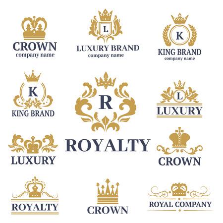 Krone König Weinlese premium weißes Abzeichen heraldische Verzierung Luxus kingdomsign vektorillustration.