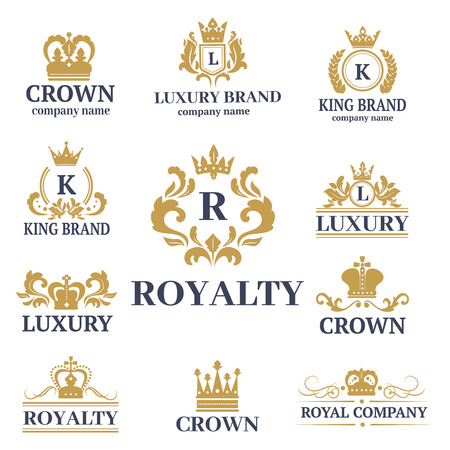 Kroon koning vintage premie witte badge heraldische sieraad luxe kingdomsign vectorillustratie.