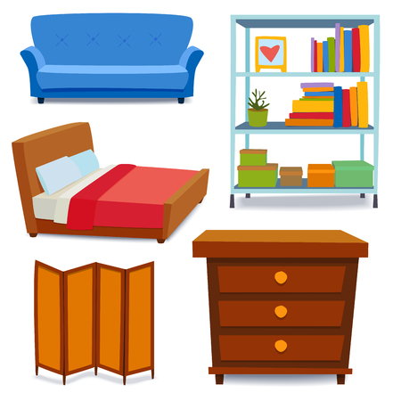 Furniture interior icons home design modern living room house sofa comfortable apartment couch vector illustration Ilustracja
