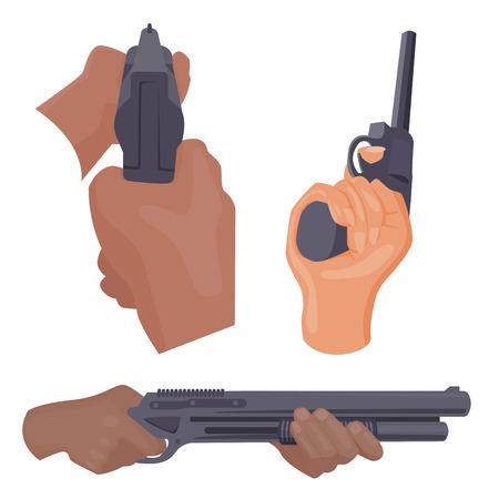 총을 들고 손을 발사 탄약 범죄 군사 경찰 총기 손 벡터. 일러스트