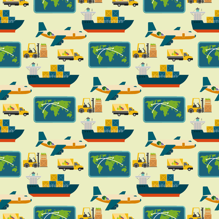 Vector worldwide shipping heavy delivery ways seamless pattern background logistics in business warehouse illustration Ilustrace