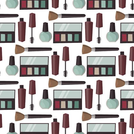 化粧香水マスカラー ケア ブラシのシームレスなパターン背景櫛アイシャドウ グラマー女性アクセサリー ベクトルに直面しました。  イラスト・ベクター素材