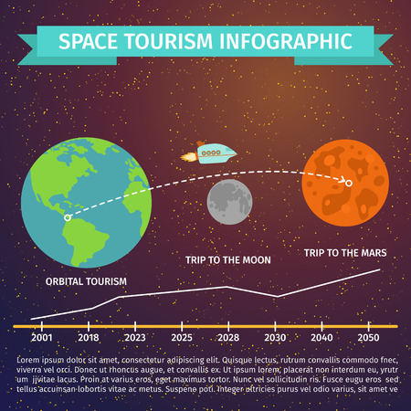 Space tourism infographic discovery cosmos science vector illustration.