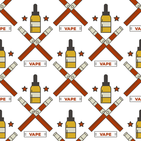 Vape device vector seamless pattern cigarette vaporizer vapor juice bottle flavor illustration battery coil.