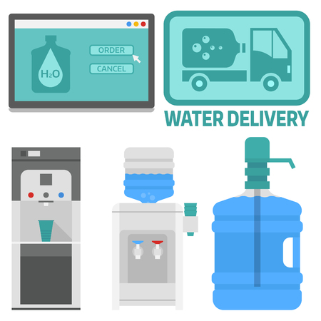 Water delivery vector elements drink bottle plastic blue container business service.