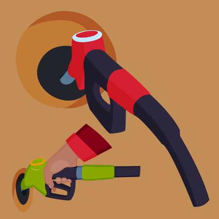 La pistola di rifornimento della stazione di benzina in gente passa l'illustrazione di vettore dello strumento di servizio del serbatoio del petrolio di rifornimento di carburante della raffineria della raffineria Archivio Fotografico - 88252607