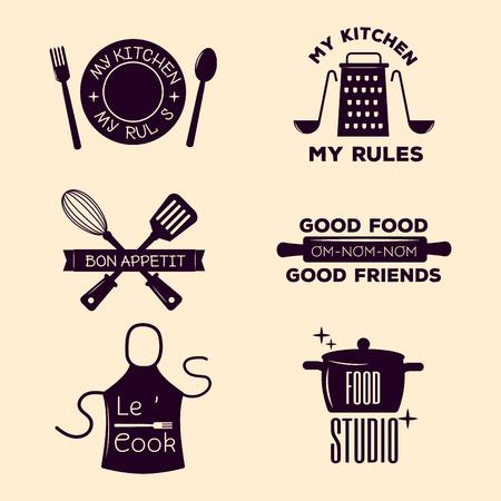 Bakery shop badges and cooking labels design classic kitchen elements set vector illustration.