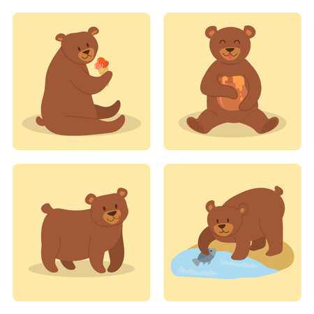 Karikaturbärncharakter-Teddybärpositionsvektor stellte entzückendes Tierdesign der wilden Grizzly nette Illustration ein. Standard-Bild - 88304406