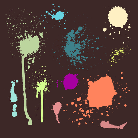 Vector set of ink splashes blots splatter collection grunge design element and art messy backdrop color dirty liquid shape spatter silhouette illustration Illustration
