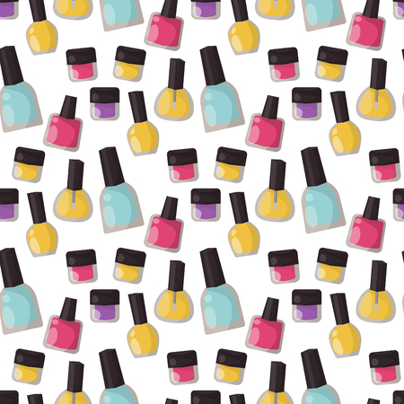 Red nail polish bottle varnish enamel glamour seamless pattern background fashion liquid beauty paint accessory female vector illustration. Иллюстрация