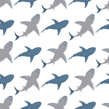 Vector illustration toothy swimming angry shark animal sea fish character underwater cute marine wildlife mascot seamless pattern background.
