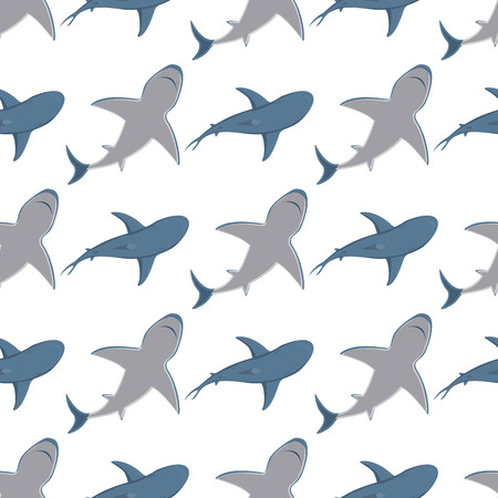 Vector illustration toothy swimming angry shark animal sea fish character underwater cute marine wildlife mascot seamless pattern background.