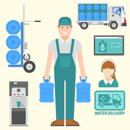 Água entrega elementos vetoriais garrafa garrafa plástico azul recipiente serviço comercial.