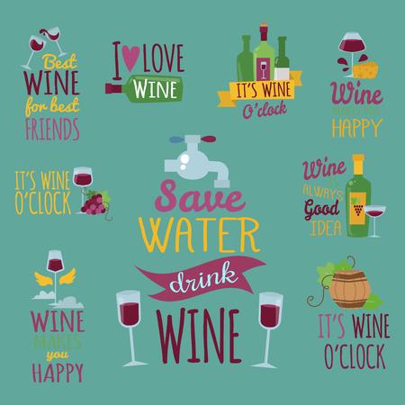 Hand getekende natuurlijke badges en labels voor wijn vector illustratie restaurant alcohol menu teken.