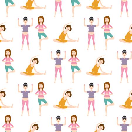 妊娠スポーツ フィットネス人健康的なキャラのライフ スタイルのシームレスなパターン背景女性ヨガ ベクトル イラスト。