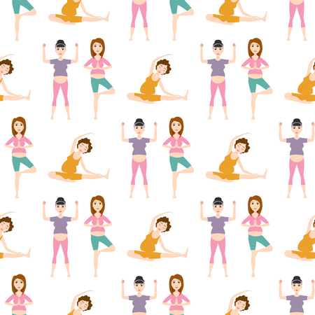 Pregnancy sport fitness people healthy character lifestyle seamless pattern background woman yoga vector illustration.
