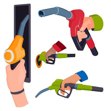 人々 手製油所石油タンク サービス ツール ベクトル図を給油でガソリン給油ピストルします。  イラスト・ベクター素材