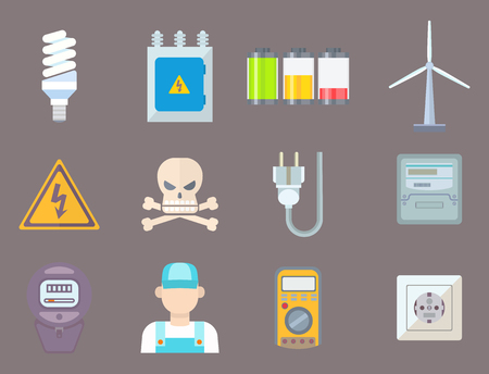 Energía eléctrica electricidad iconos energía batería ilustración electricista voltaje socket tecnología. Ilustración de vector