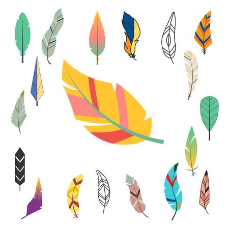 部族のフラット羽違う鳥ヴィンテージ カラフルな民族の手描画する要素装飾図面自然クイル ベクトル図を描きます。 写真素材 - 88436356