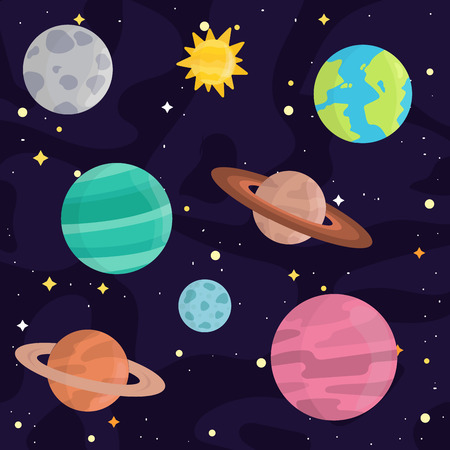 Space landing planets solar system future exploration nature vector illustration