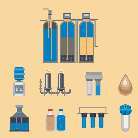 Water purification icon faucet fresh recycle pump wastewater treatment collection vector illustration.