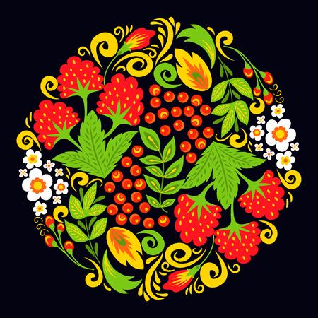 ベクトル khokhloma パターンデザイン伝統的なロシア描かれたイラストエスニック装飾絵画イラスト  イラスト・ベクター素材