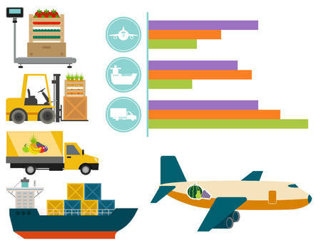 Vector die wereldwijd zware leveringsmanieren en logistiek in bedrijfspakhuisillustratie verschepen Stock Illustratie