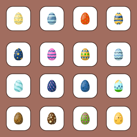 Easter eggs painted with spring pattern vector illustration. Banco de Imagens - 88320099