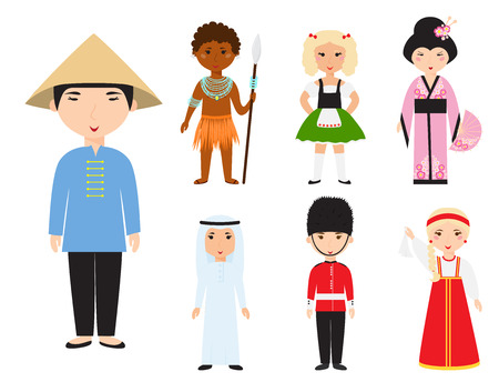 niños diferentes razas: Diverse avatars cartoon characters vector illustration.