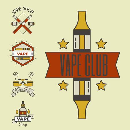 Vaping e-cigarette emblems vector