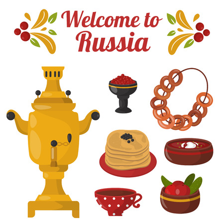 Traditional Russian cuisine cvector illustration