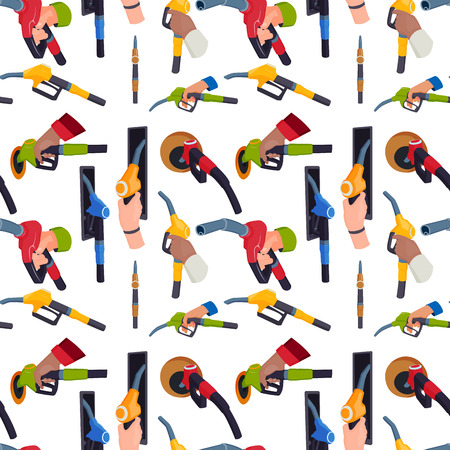 Filling gasoline station pistol in people hands seamless pattern background refueling petroleum tank service tool vector illustration