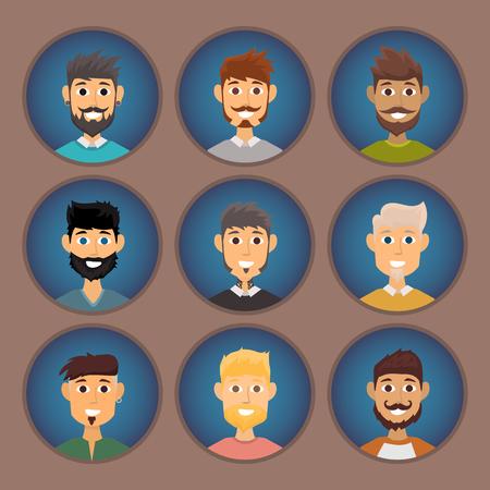 Personnage de divers expressions homme barbu expressions de l & # 39 ; expression et de la mode hipster coiffure coiffure avec moustache vecteur moustache illustration Banque d'images - 88351153