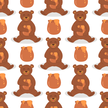 Cartoon bear character teddy pose vector seamless pattern background wild grizzly cute illustration adorable animal design. Illustration