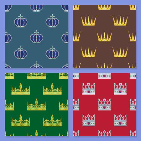 Crown king vintage premium seamless pattern background heraldic ornament luxury kingdomsign vector illustration. Illustration