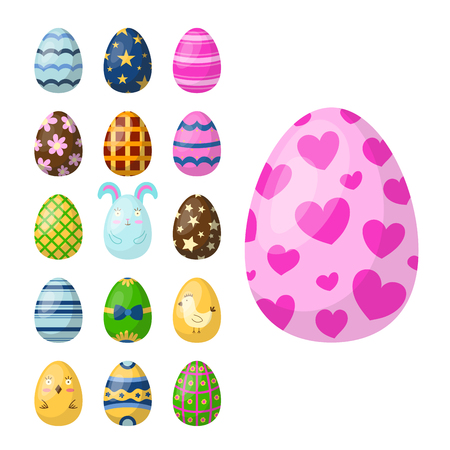 Easter eggs painted with spring pattern multi colored organic food holiday game vector illustration. Illustration