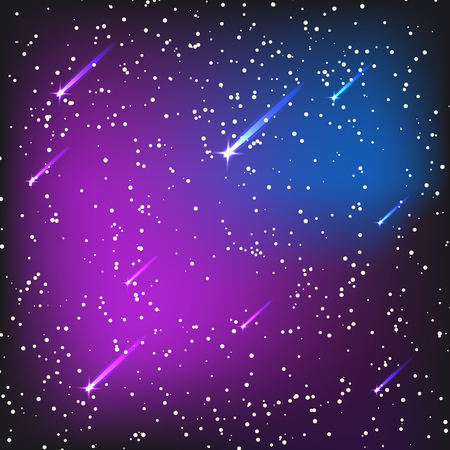 Starry outer galaxy cosmic space illustration universe background sky astronomy nebula cosmos night constellation vector realistic astrology. Ilustração