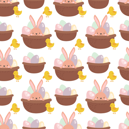 Easter rabbit character bunny seamless pattern background vector cute happy animal illustration. Stock Vector - 88349082