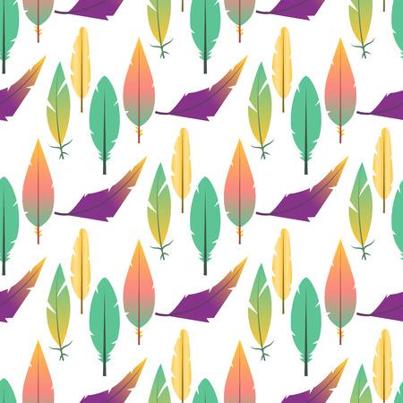 Tribal plume plat sans soudure de fond oiseau vintage coloré ethnique tiré par la main élément décoratif dessin nature plume peinture vector illustration. Banque d'images - 88349069