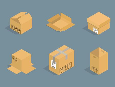 分離された別のボックス ベクトル等尺性アイコンは、サービスまたはギフトの容器包装を移動します。ショップ袋ダン ボール パッケージ紙パック