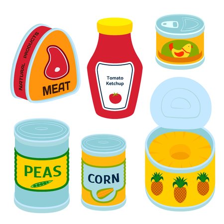 Collection of various tins canned goods. Stock Vector - 88426245