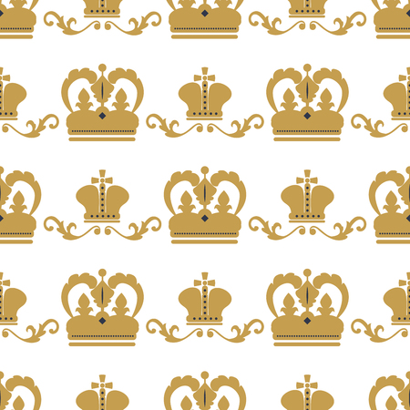 Crown king vintage premium seamless pattern background heraldic ornament tiara luxury emblem kingdom princess baroque vector illustration. Insignia medieval antique decoration retro style.