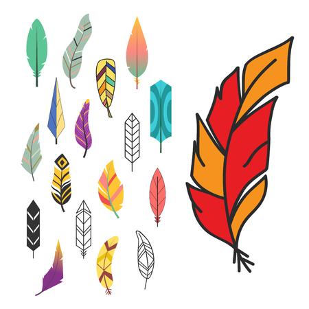 Tribal plat plume style différent oiseau cru coloré ethnique main dessiné élément décoratif dessin nature quill peinture illustration vectorielle Symbole d'encre créative élégance indienne. Banque d'images - 88424811