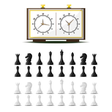 ピースの競争のチェス盤とチェスの駒ベクトル レジャー概念の騎士グループ白と黒