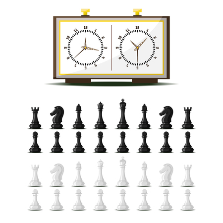 Chess board and chessmen vector leisure concept knight group white and black piece competition